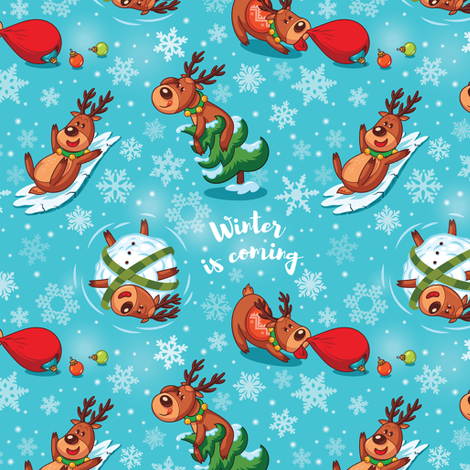 Christmas deers  fabric by penguinhouse on Spoonflower - custom fabric