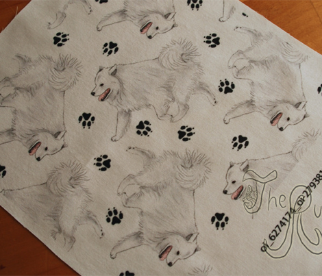 Trotting American Eskimo Dog and paw prints - white