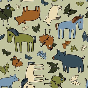 Pigs and Ponies - Sage, Olive and Teal