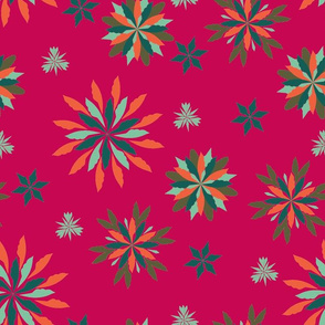 Geometric Christmas - Fucsia, Aqua, Orange, & Olive