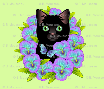 Black Cat and Pansies - Fat Quarter