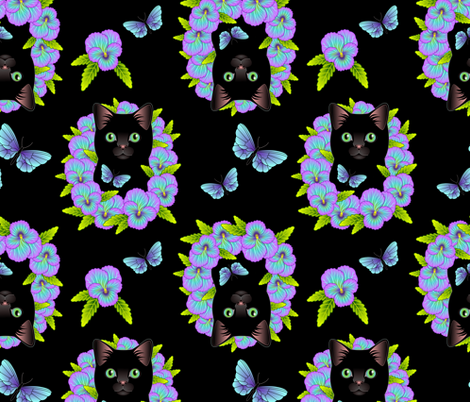 Black Cat and Pansies - Black Background fabric by bliss_and_kittens on Spoonflower - custom fabric