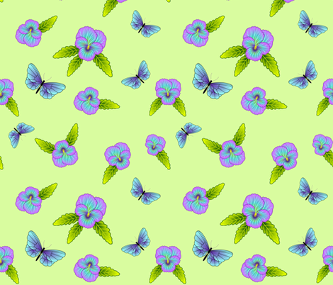 Black Cat and Pansies Coordinate - Green Flavor fabric by bliss_and_kittens on Spoonflower - custom fabric