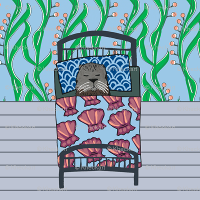 quilt block: dream sea otter