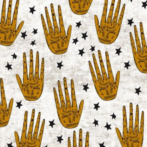 zodiac_palms gold black and white with stars
