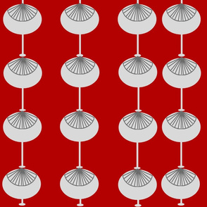 Mid-Century Modern Bulbs Pattern RED