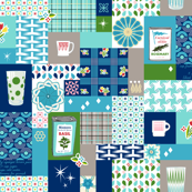 Dinette (Blue) || vintage style cheater quilt tablecloth kitchen spice herb glassware atomic midcentury modern potholder polka dot picnic basket plaid geometric fire king mug flower floral patchwork star