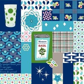 Dinette (Blue) || vintage style cheater quilt tablecloth kitchen spice herb glassware atomic midcentury modern potholder polka dot picnic basket plaid geometric fire king mug flower floral patchwork star