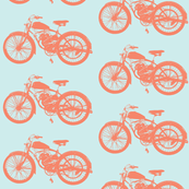 "4"" Vintages Motorcycles - orange and teal"