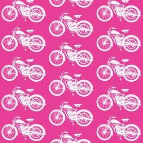 Vintage Motorbikes on Pink // Medium