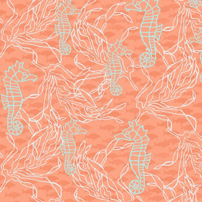 Orange & Aqua White Kelp & Seahorses