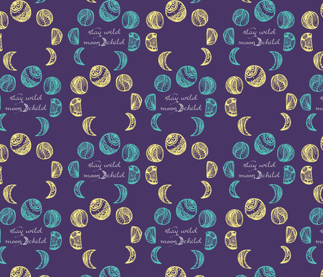 moon child fabric by nataliedrawn_ on Spoonflower - custom fabric