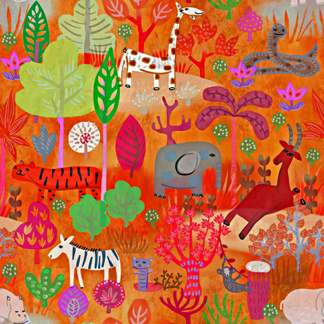Safari Holiday fabric by susan_polston on Spoonflower - custom fabric