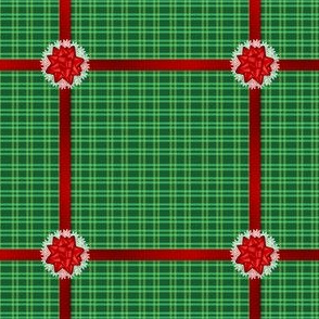 Green Christmas Plaid & Red Ribbons
