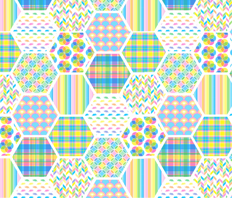 Spring Pastels Colorway - Patchwork fabric by december_rose on Spoonflower - custom fabric