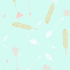 Scatter feather arrow mint pink white