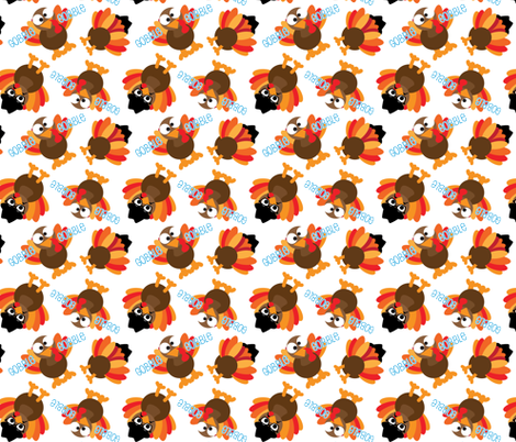 Thanksgiving Funny Gobble Gobble Turkey Face fabric by khaus on Spoonflower - custom fabric