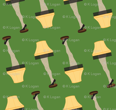 Christmas Retro Leg Lamp on Green