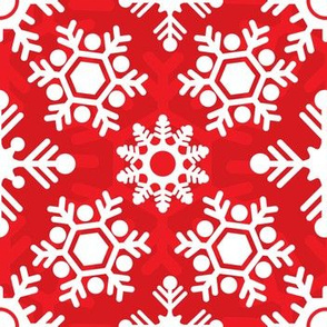 Christmas Holiday Snowflakes Red and White