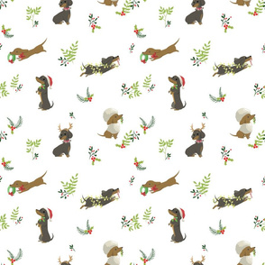 Christmas Dachshunds - white