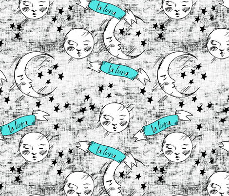 zodiac_la_luna_turquoise and black fabric by holli_zollinger on Spoonflower - custom fabric