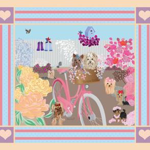 """Yorkie - Garden Blooming - 42x36"""" Quilt Panel"""