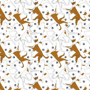 Trotting Ibizan hounds and paw prints - white