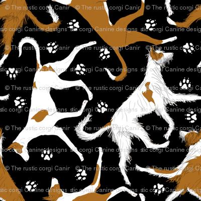Trotting Ibizan hounds and paw prints - black