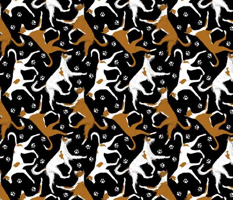 Trotting Ibizan hounds and paw prints - black fabric by rusticcorgi on Spoonflower - custom fabric