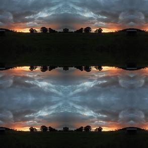 Golden Sunset on the Edge of Night (Ref. 3190b) - Large Scale Horizontal Border Stripe
