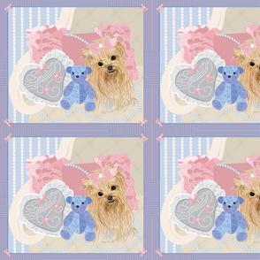 Yorkie,Bear Pillows Quilt Panel 42x36