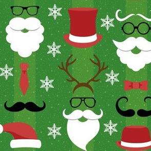 Christmas Hipster Santa Blue and Green