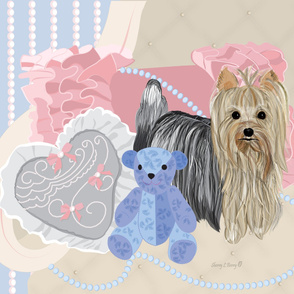 Yorkie Victorian Shabby Chic bear LARGE pillow Quilt panel