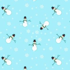 Snowman Wrapping Paper - Sky Blue