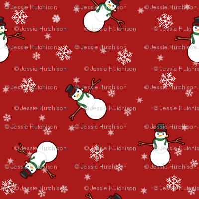 Snowman Wrapping Paper - Red
