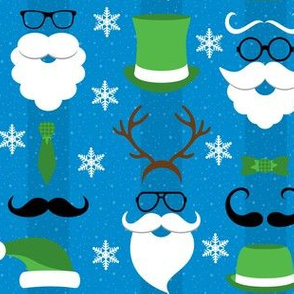 Christmas Hipster Santa Blue and Green