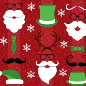 Christmas Hipster Santa Red and Green