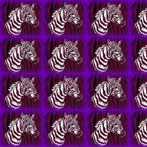 African Zebra Block print: purple/white Zebra on black/brown/purple