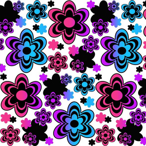 Rainbow Floral Abstract Design