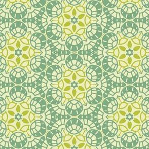 Green and White Circular Geometric