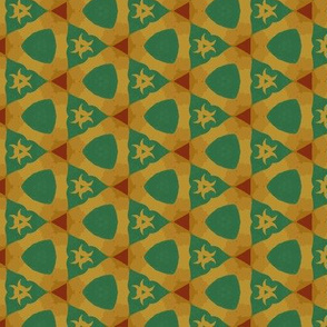Emerald Green and Yellow Geometric Triangles