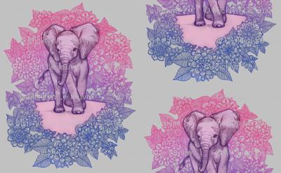 Cute Baby Elephant - pink, purple, blue on grey
