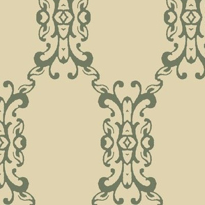 Green Brocade Over Tan