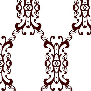 Maroon and White Brocade