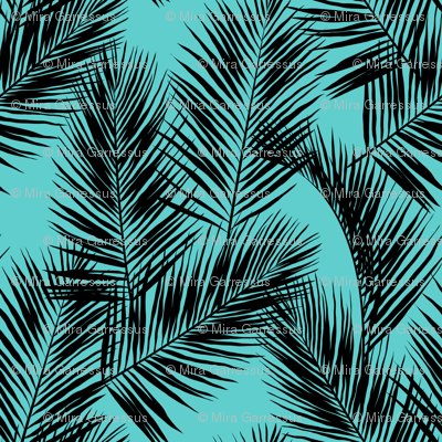 palm leaves - black on turquoise, small. silhuettes tropical forest black turquoise hot summer palm plant tree leaves fabric wallpaper giftwrap