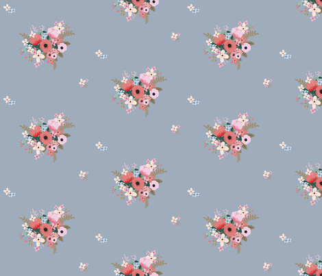Pretty Posy - Blue Grey fabric by stitch+press on Spoonflower - custom fabric