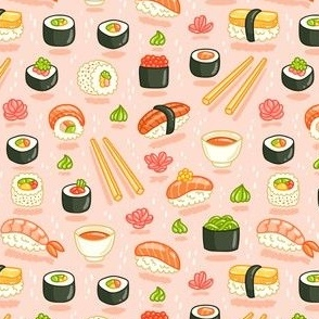 Sushi and rolls, yummy cartoon print