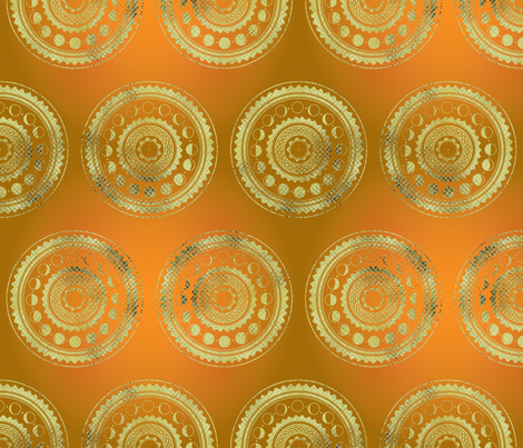 Harvest Moons in Gold fabric by katyluxionart on Spoonflower - custom fabric