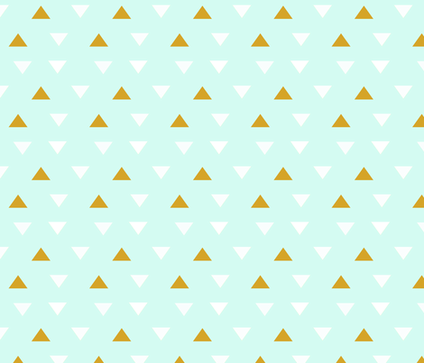 White and Gold triangles on Mint fabric by pixabo on Spoonflower - custom fabric