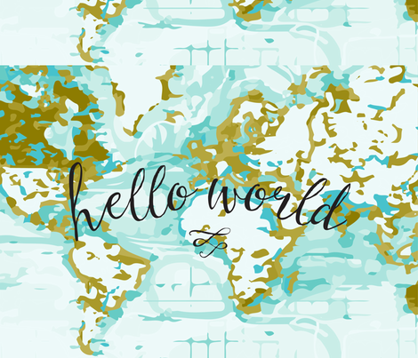 Hello World Changing Pad Cover fabric by ivieclothco on Spoonflower - custom fabric